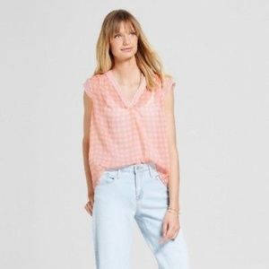 MERONA V Neck Coral Gingham Plaid Checkered Blouse